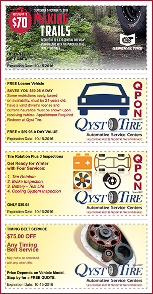 Qyst Tire Q3 Coupons and General Tire Promotion