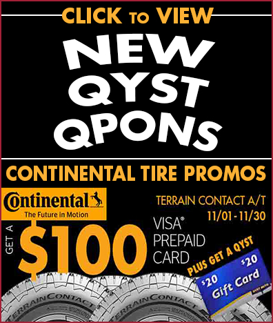 New Qyst Tire Coupons and Continental Tire Promotions