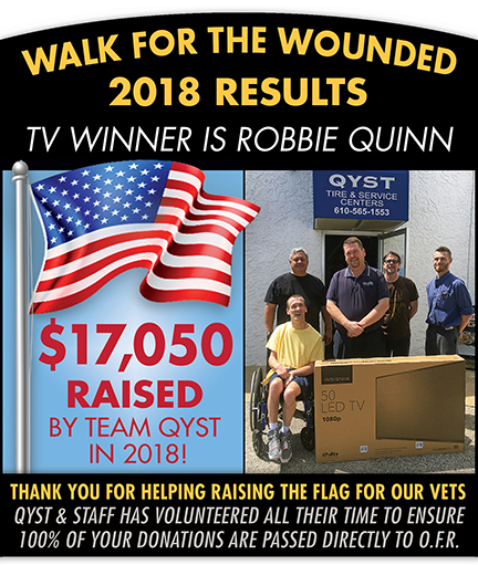 2018 Qyst Tire Walk for the Wounded Results