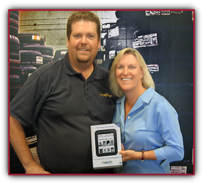 Pam Coghlan of The Penn State University-Brandywine Campus was Qyst Free Stuff winner Nook in Lima, PA with Tony Flynn, ASE Certified Service manager